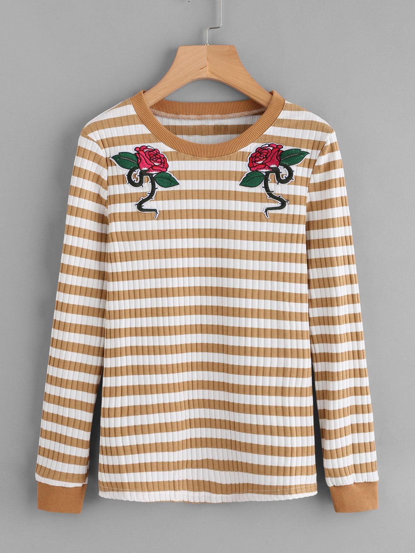 Patch Detail Rib Knit Striped Tee tee171009450