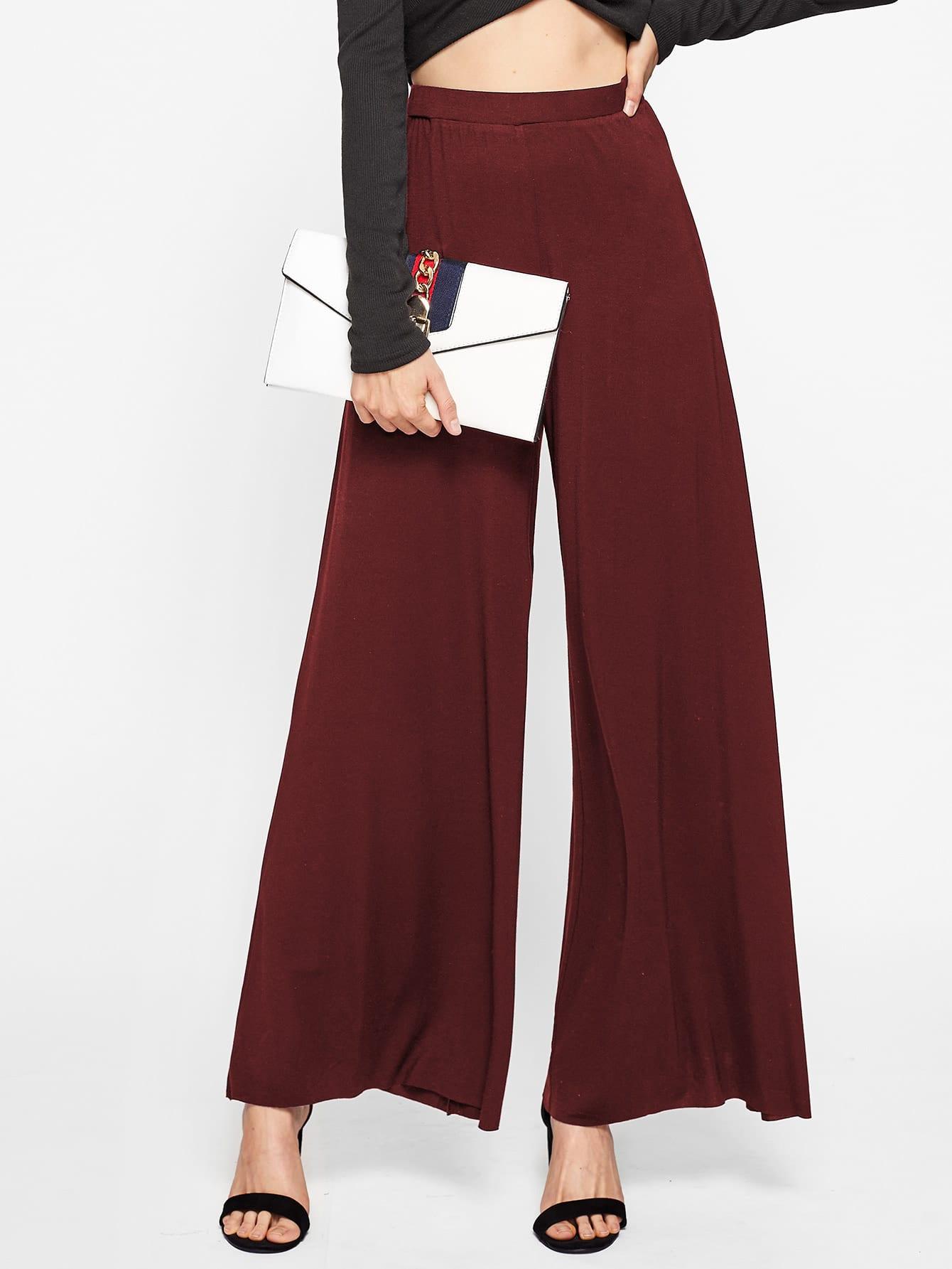 Elasticized Waist Super Wide Leg Pants elasticized waist velvet pants