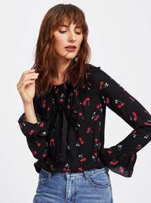Cherry Print Bell Cuff Frilled Top