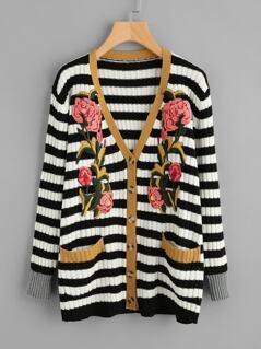 Flower Patch Rib Knit Striped Cardigan