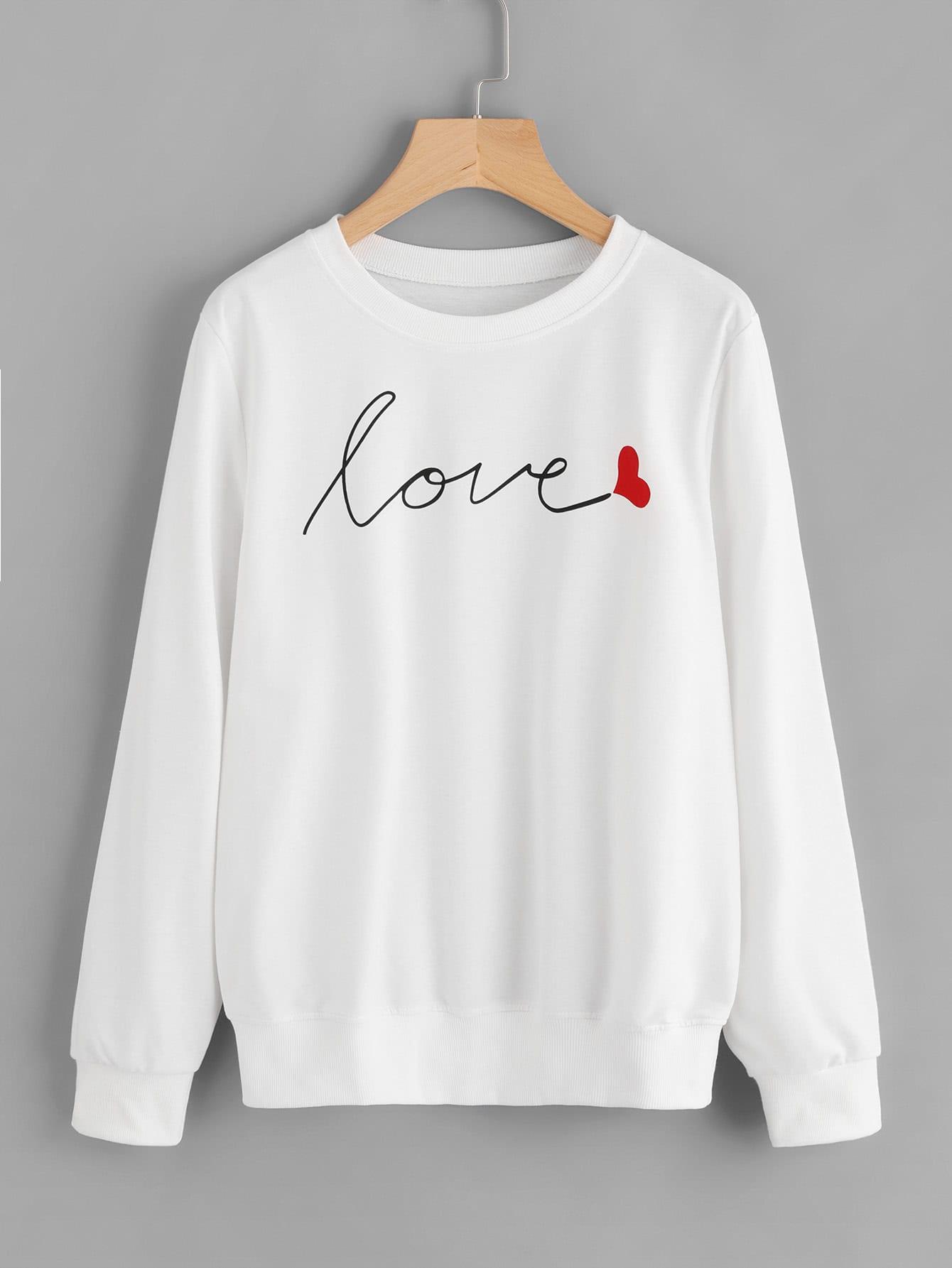 Love Print Ribbed Trim Sweatshirt sweatshirt170907303