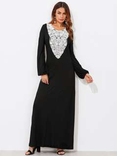Contrast Lace Applique Tee Dress