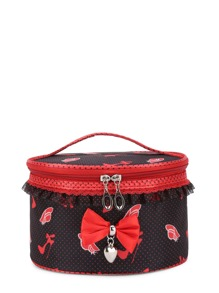 Bow Tie Front Lace Trim Makeup Bag