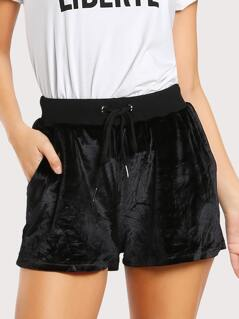 Drawstring Ribbed Waist Velvet Shorts