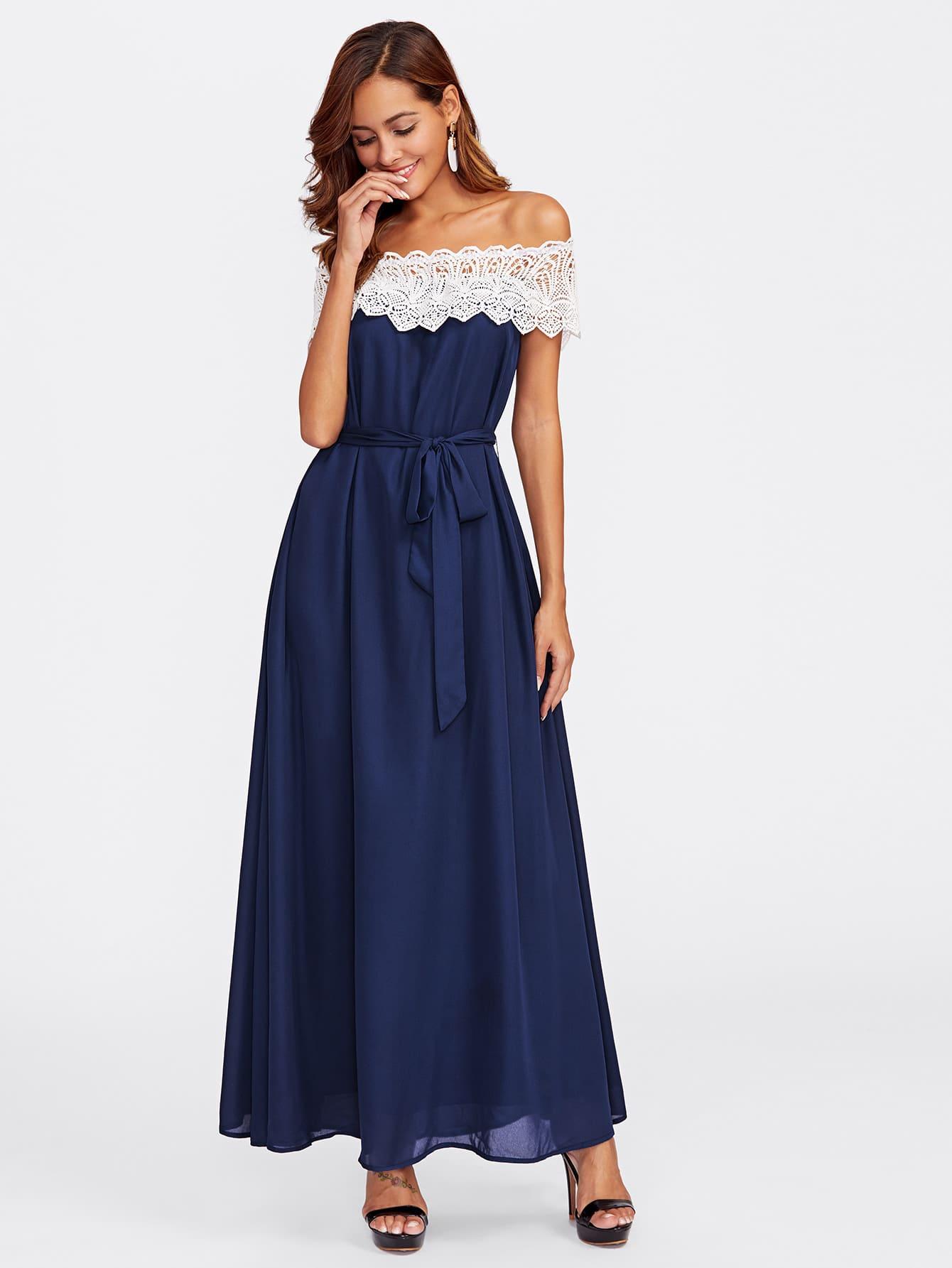 robe avec lacet avec col bateau dentelle bicolore french shein sheinside. Black Bedroom Furniture Sets. Home Design Ideas