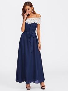 Contrast Lace Bardot Neck Self Tie Dress
