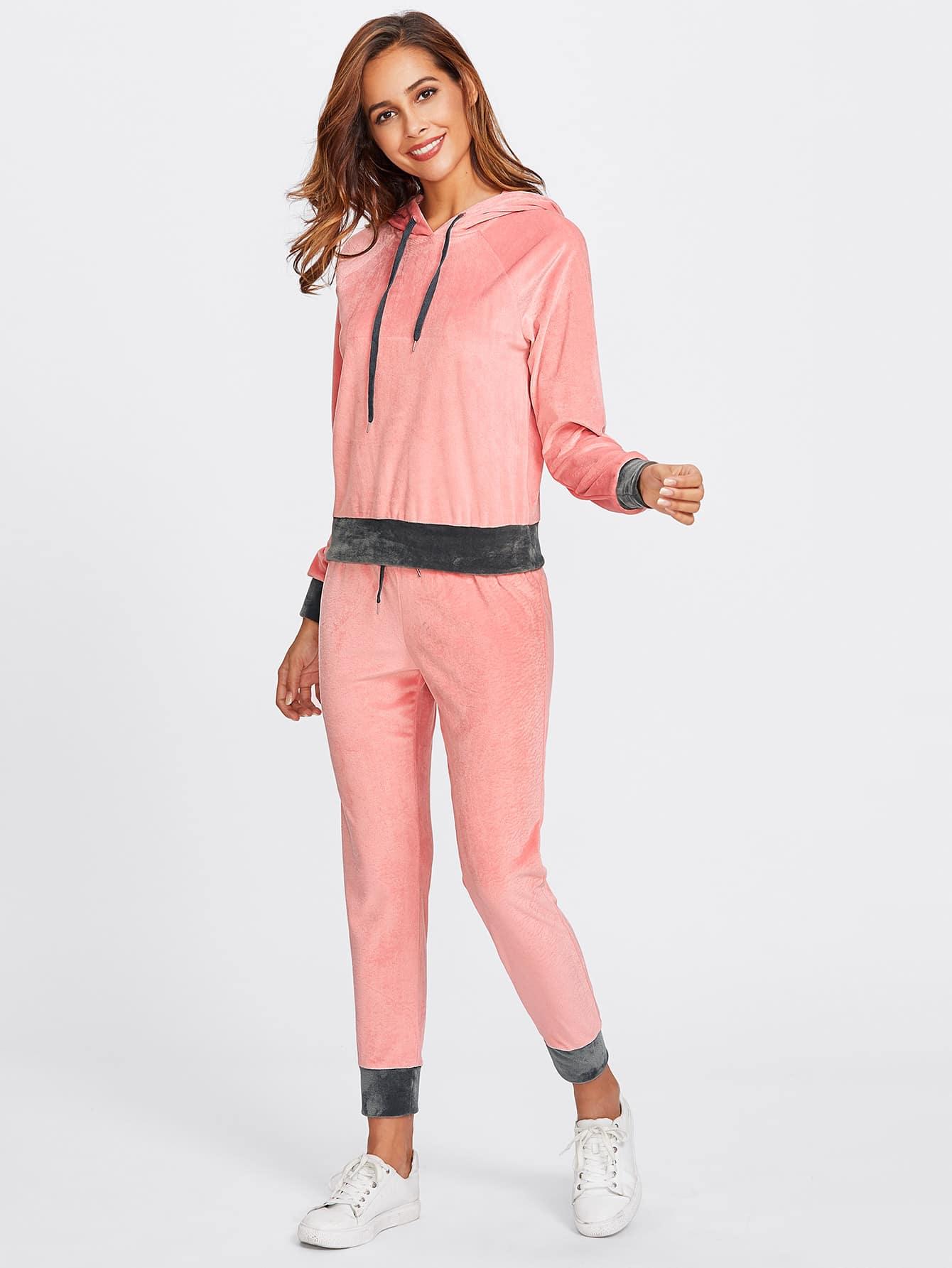 Contrast Trim Velvet Hoodie & Sweatpants Set twopiece170921702