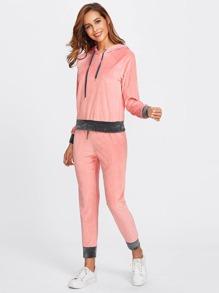 Contrast Trim Velvet Hoodie & Sweatpants Set