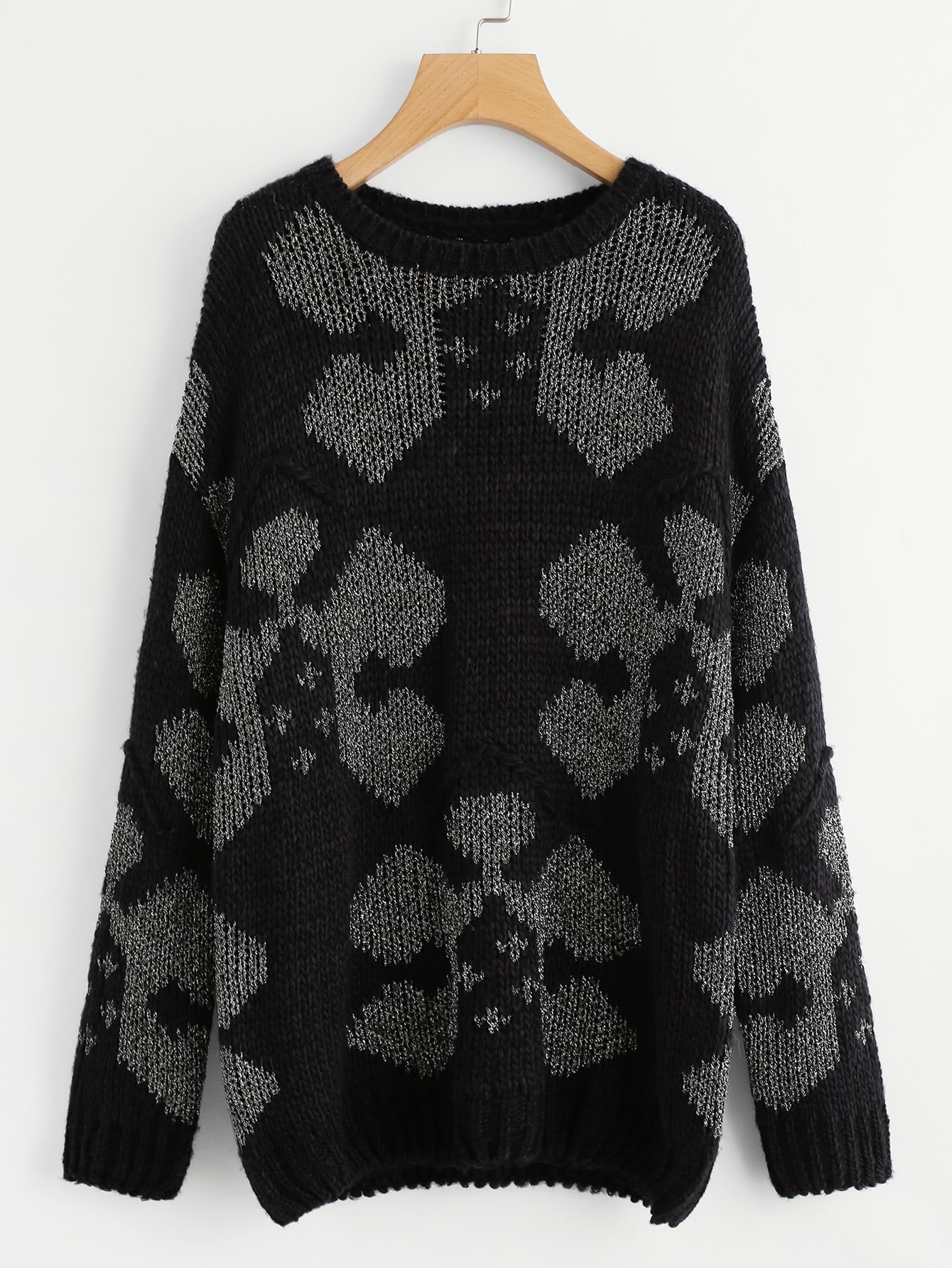 купить Drop Shoulder Geo Pattern Sweater дешево