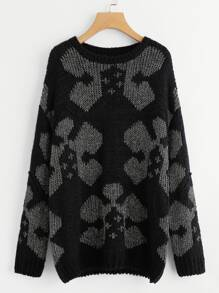 Drop Shoulder Geo Pattern Sweater
