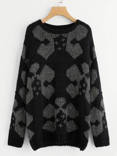 Drop Shoulder Geo Pattern Sweater