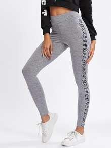 Leggings tricoté imprimé côté