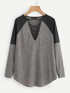 Crisscross V Neck Raglan Sleeve Ribbed Top
