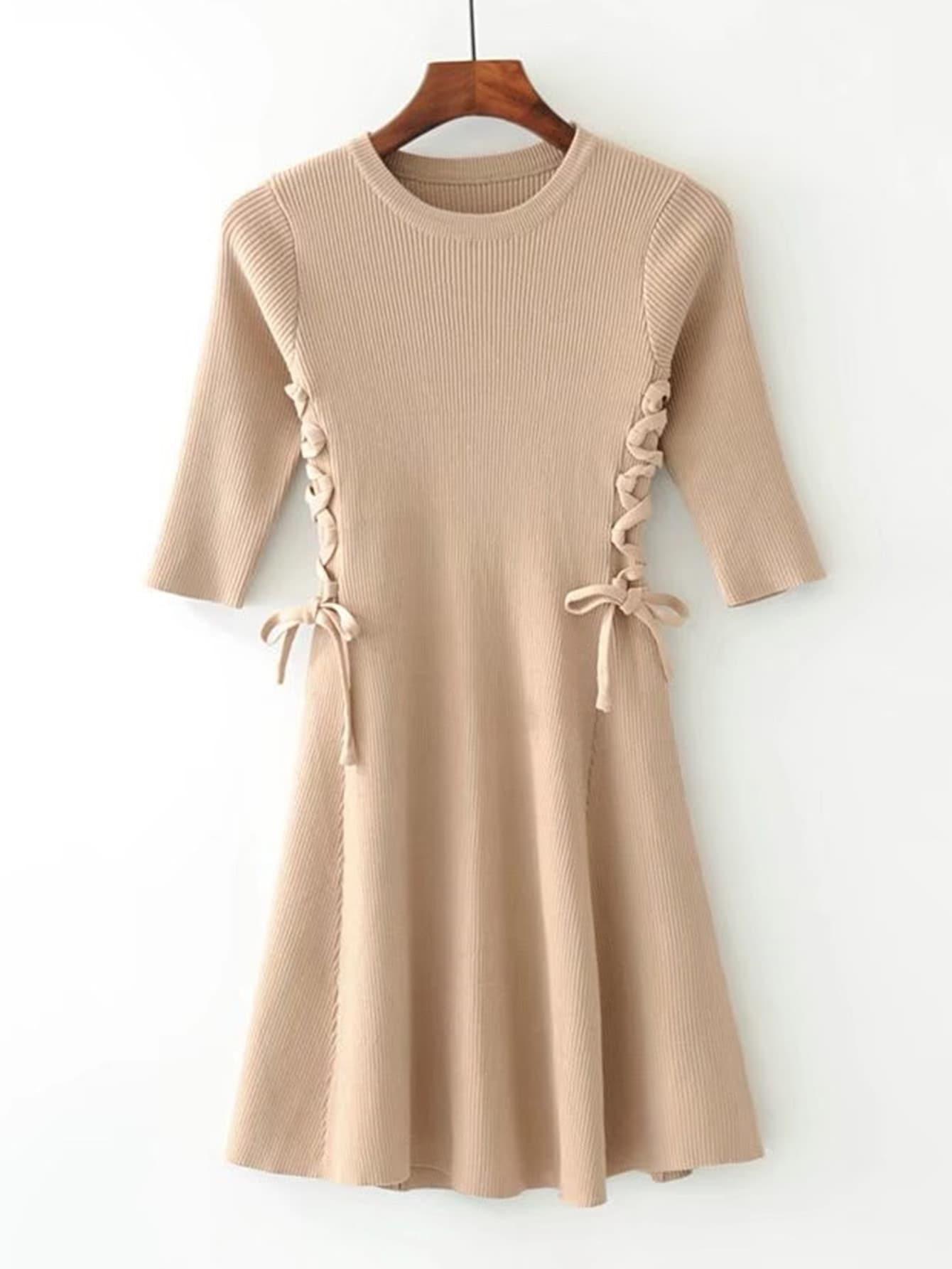 Lace Up Side Ribbed Knit Dress dress171005205