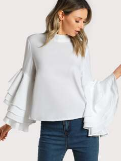 Layered Trumpet Sleeve Top