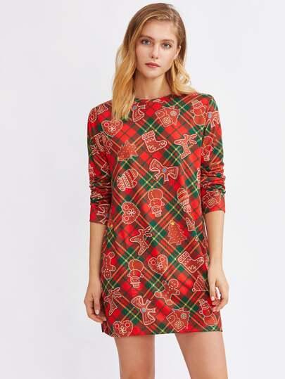 Christmas Print Dress