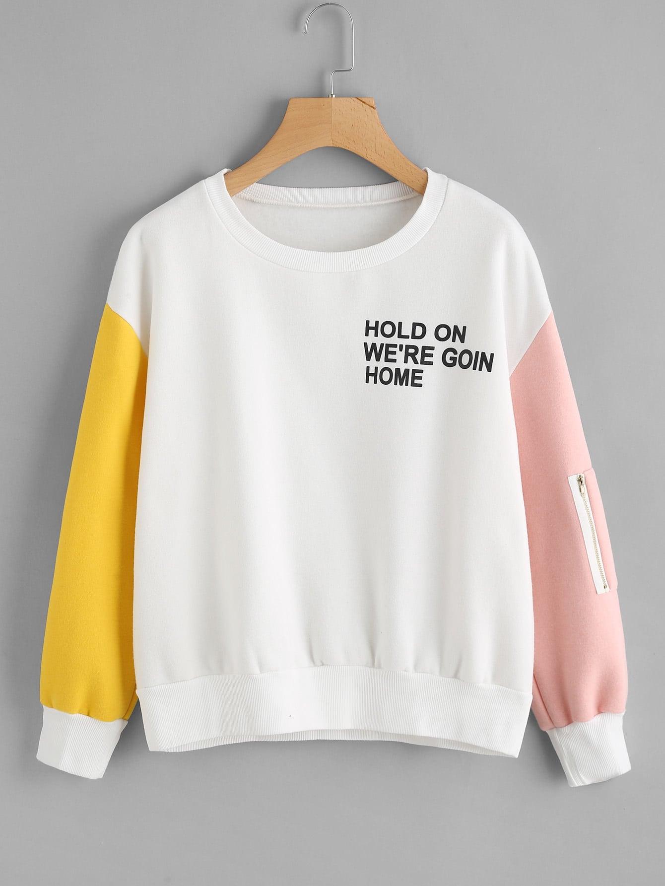 Contrast Sleeve Slogan Print Sweatshirt