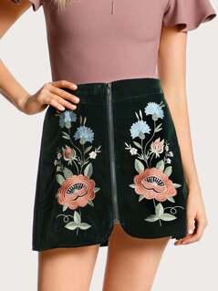 Floral Embroidered Zip Up Skirt DARK TEAL