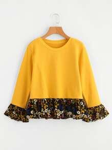 Contrast Floral Print Frill Hem Sweatshirt