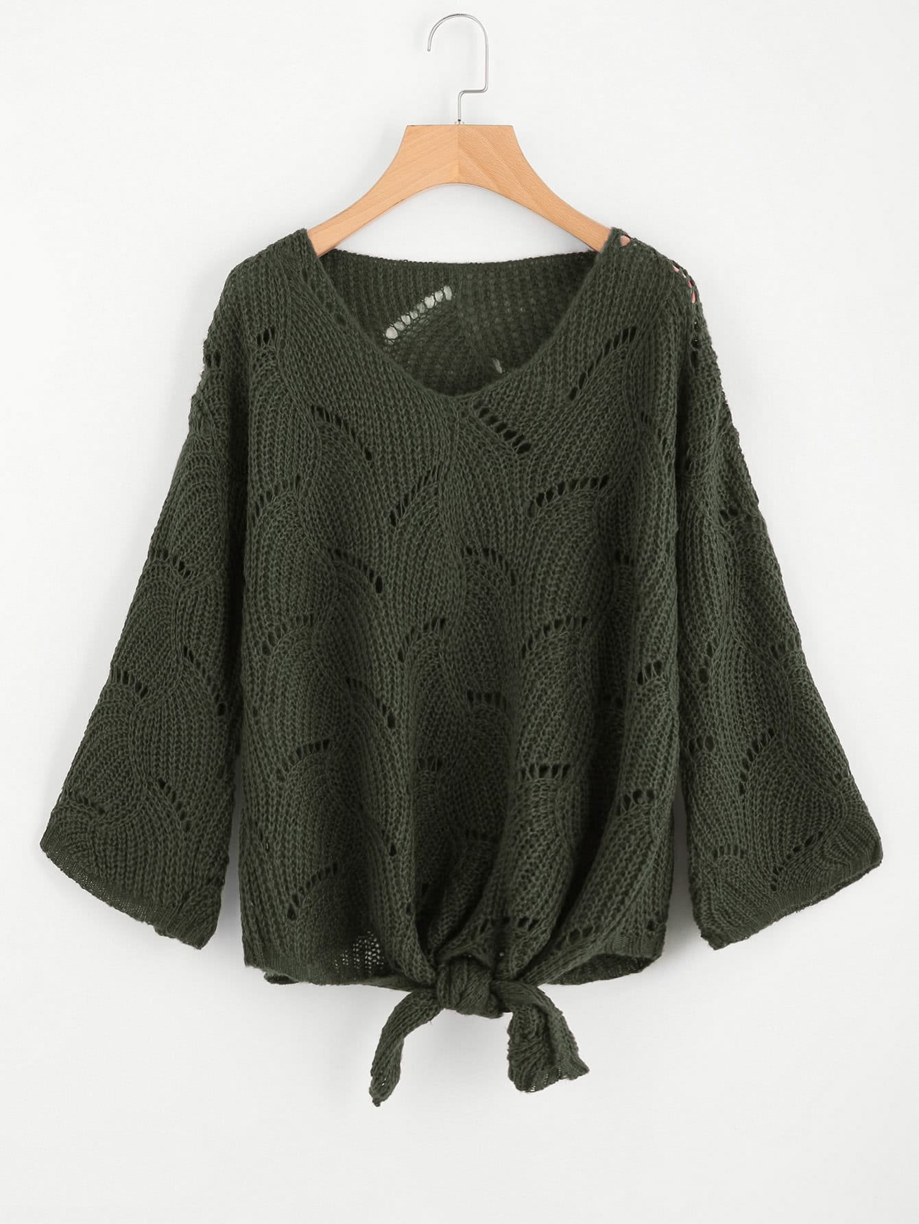 Loose Knit Knotted Front Jumper flounce trim loose knit jumper