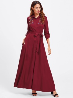 Embroidered Yoke Roll Sleeve Belted Shirt Dress
