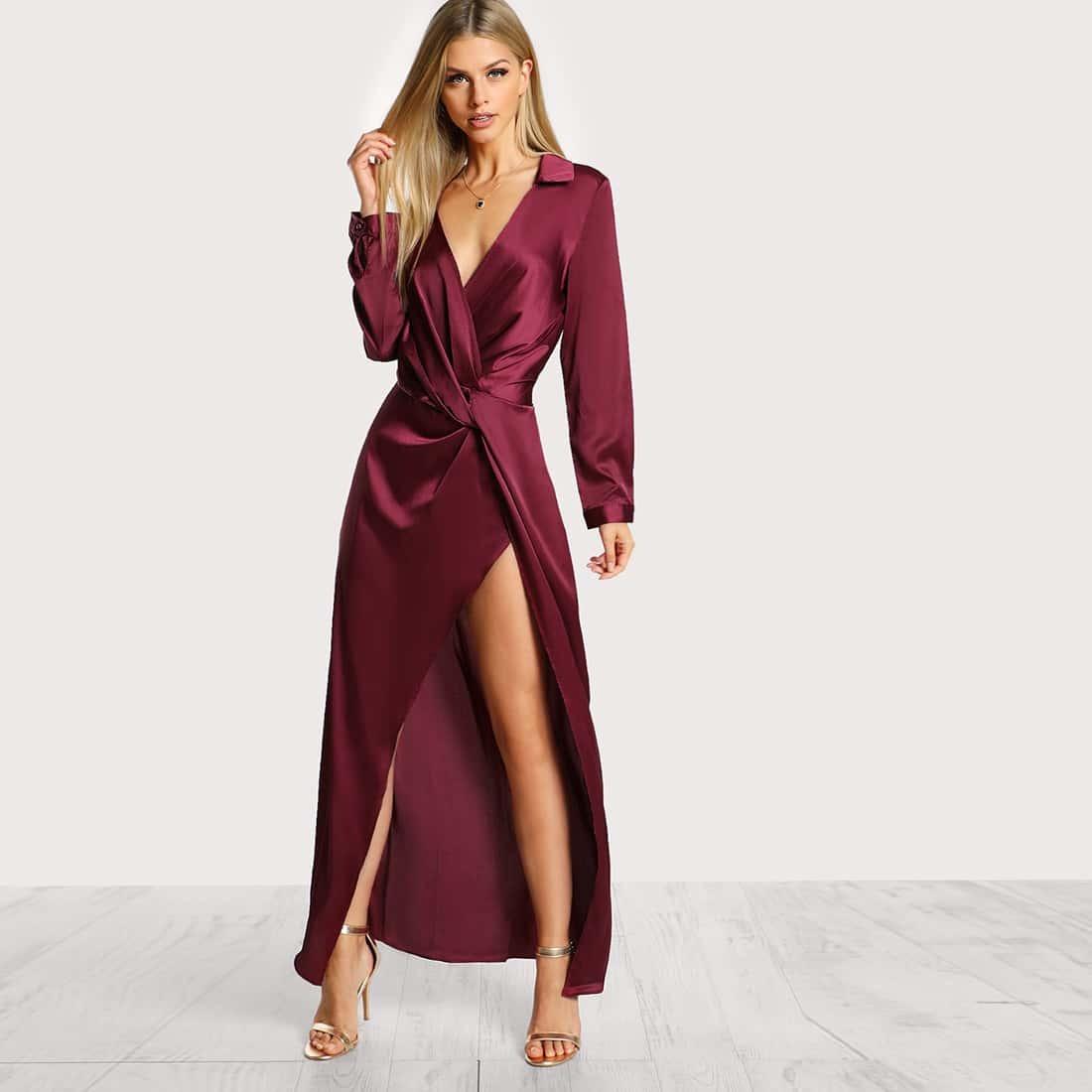 Satijnen lange jurk met split