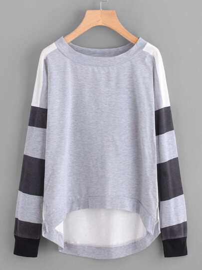 Striped Sleeve Dip Hem Sweatshirt