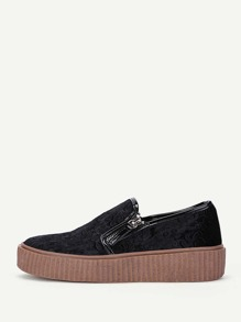 Chaussures de sport en velours avec double zips