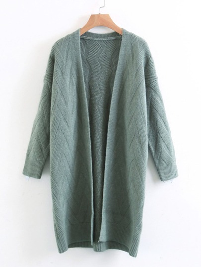 Chevron Textured Longline Cardigan