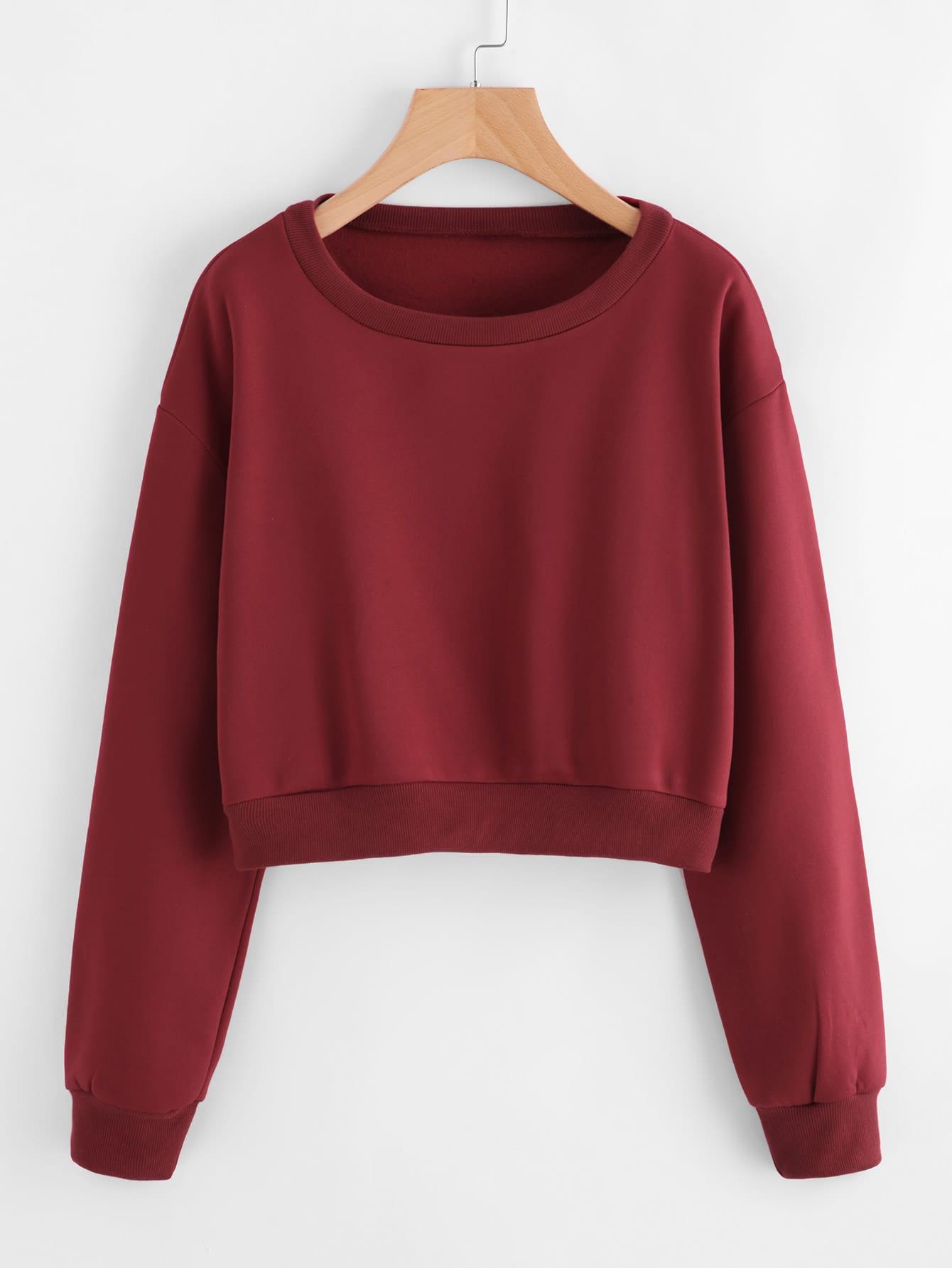 Drop Shoulder Ribbed Trim Crop Pullover sweatshirt170925102