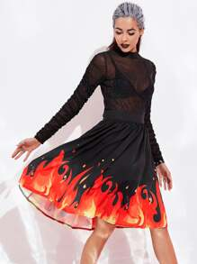 Halloween Fire Pattern Skirt