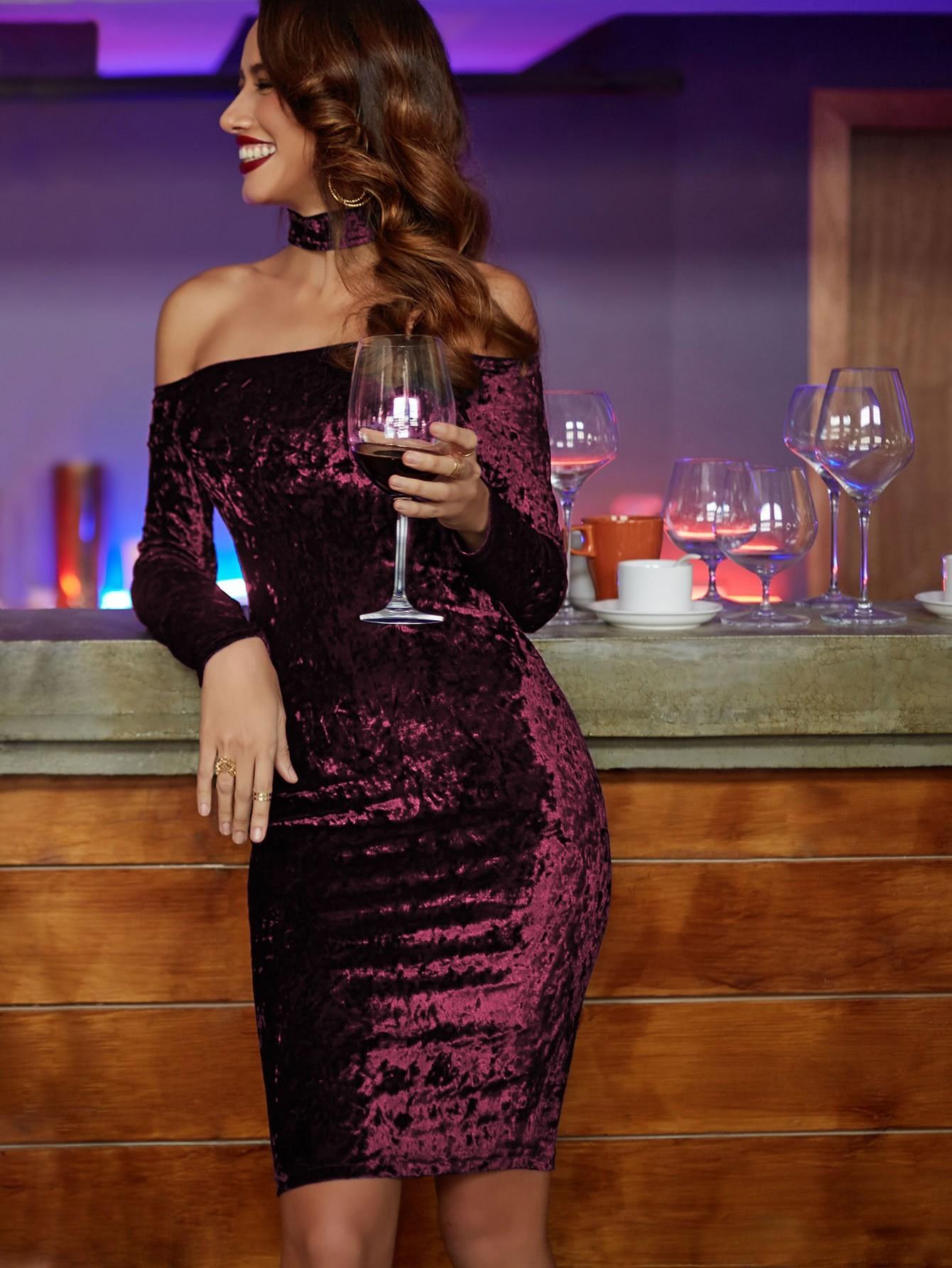 купить Bardot Velvet Dress With Choker недорого