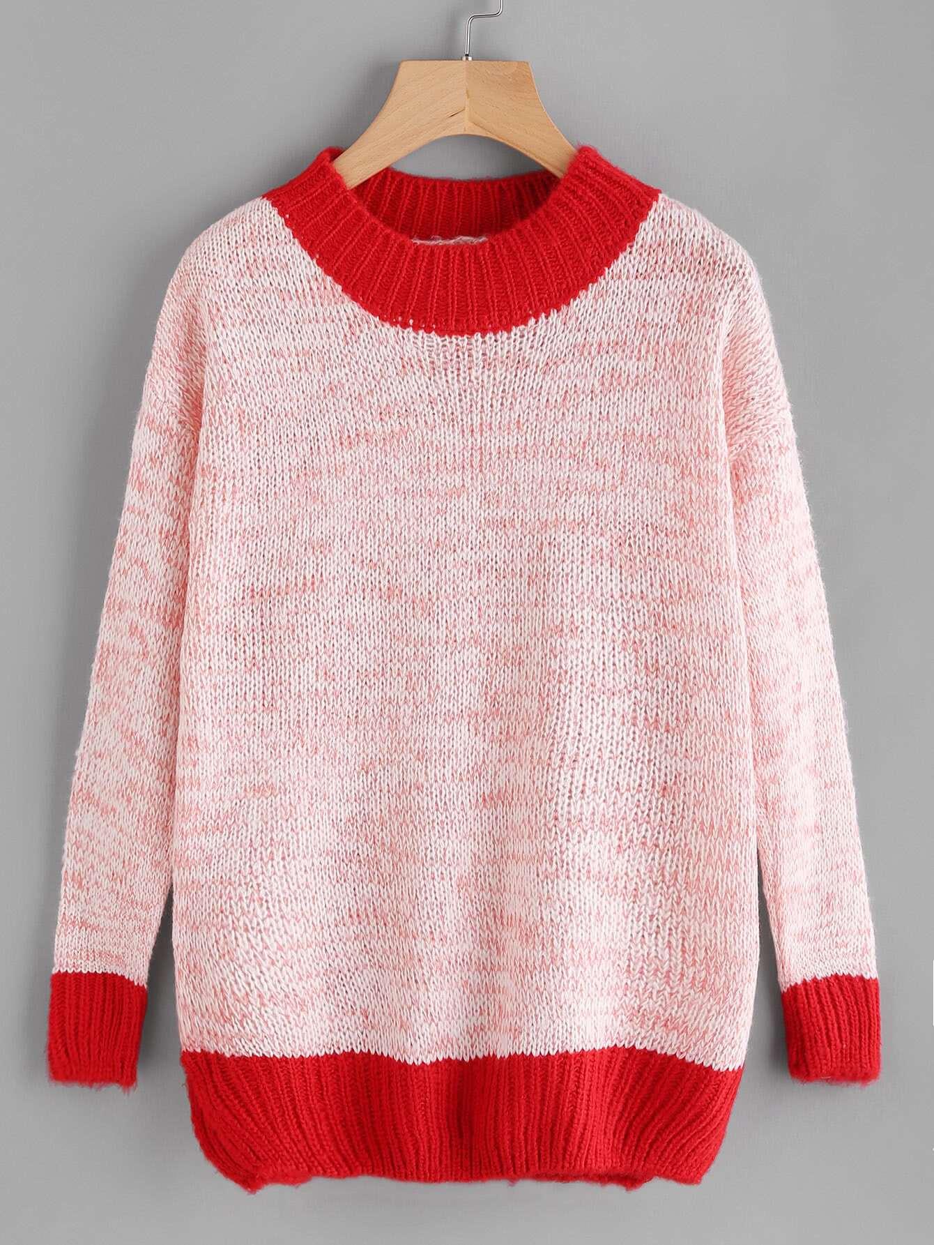 Contrast Trim Knit Sweater sweater170913111