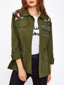 Flower Embroidered Drawstring Waist Utility Jacket