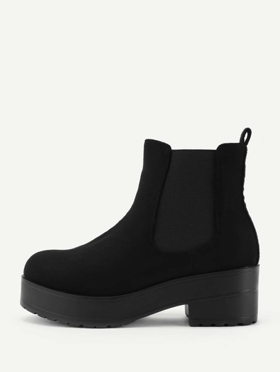 Round Toe Wedge Boots