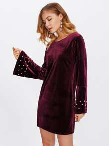Pearl Beaded Fluted Sleeve Velvet Dress