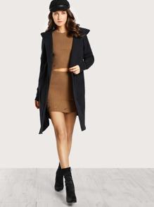 Soft Knit Hoodie Coat BLACK