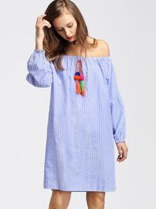 Bardot Vertical Striped Pom Pom Dress