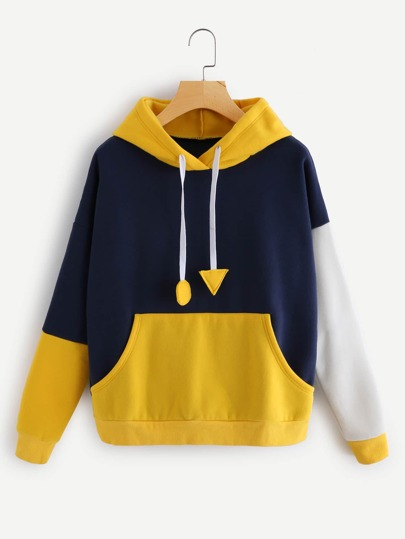 Color Block Letter Print Drop Shoulder Hoodie