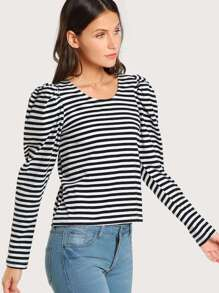 Striped Long Puff Sleeve Top