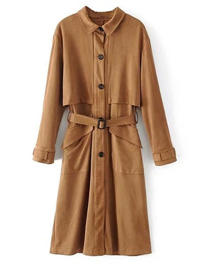 Cape Detail Self Tie Suede Trench Coat