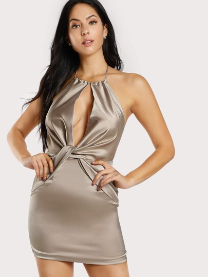 Strapless Satin Backless Mini Dress CHAMPAGNE