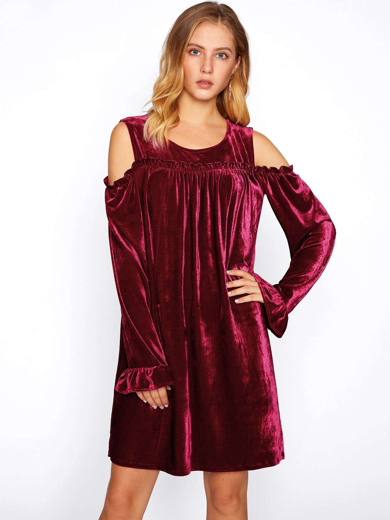 Open Shoulder Frill Detail Velvet Dress frill layered pearl detail sweatshirt dress