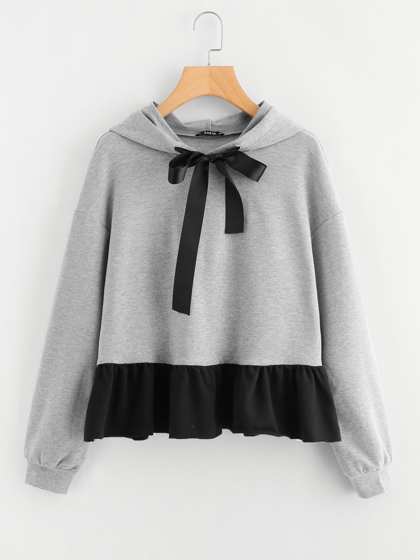 Contrast Ruffle Hem Heather Knit Hoodie contrast ruffle trim heather knit sweatshirt