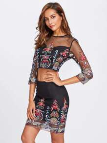 Keyhole Back Embroidered Mesh Sweetheart Top & Skirt Set