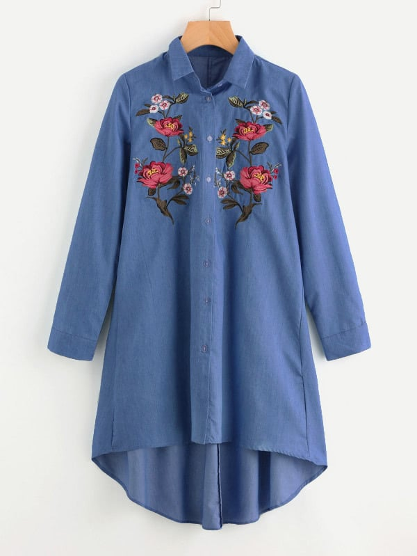 Image of Embroidered Patch Dip Hem Denim Shirt Dress