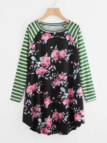 Striped Raglan Sleeve Floral Tee Dress