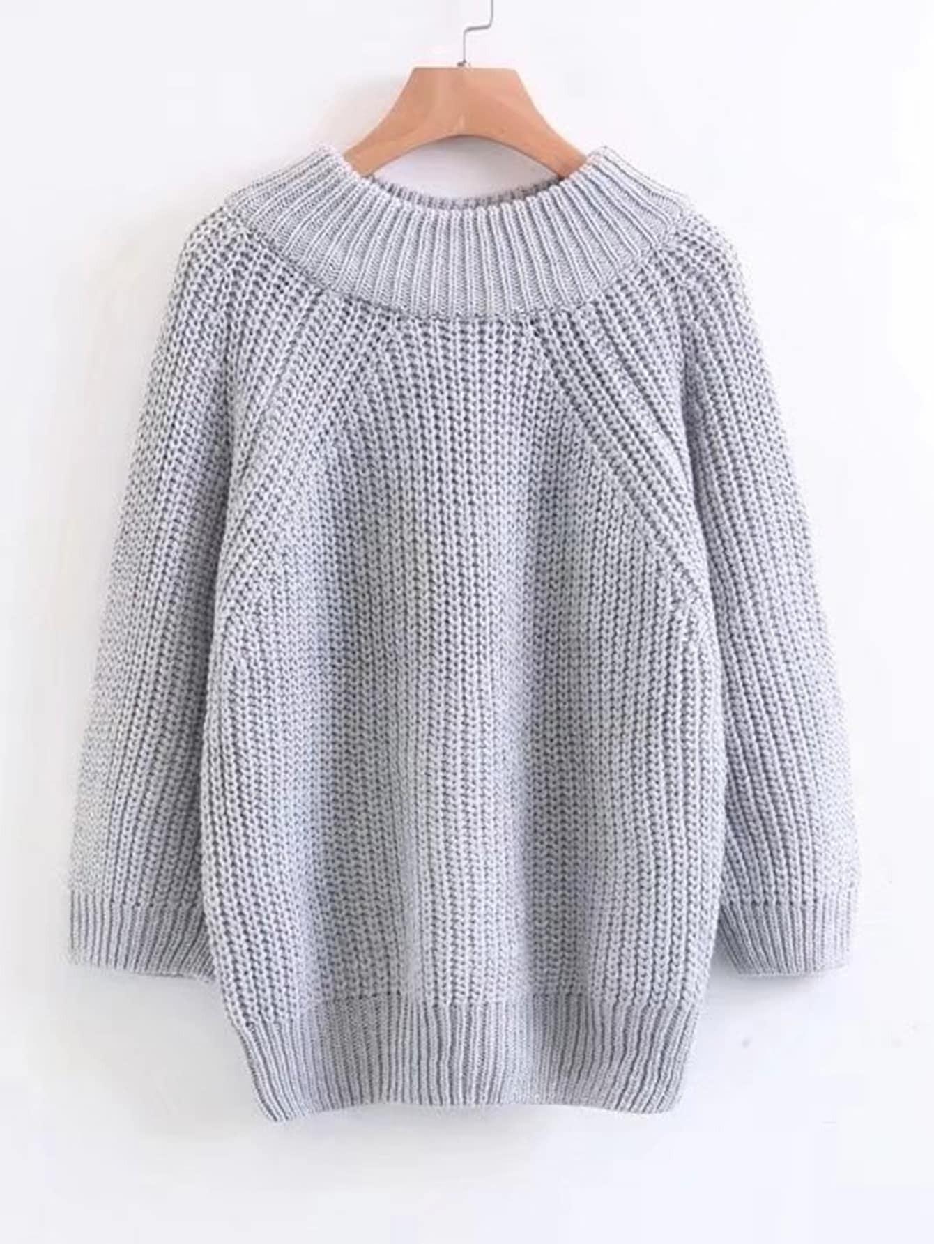 Raglan Sleeve Rib Trim Sweater rkni170929204