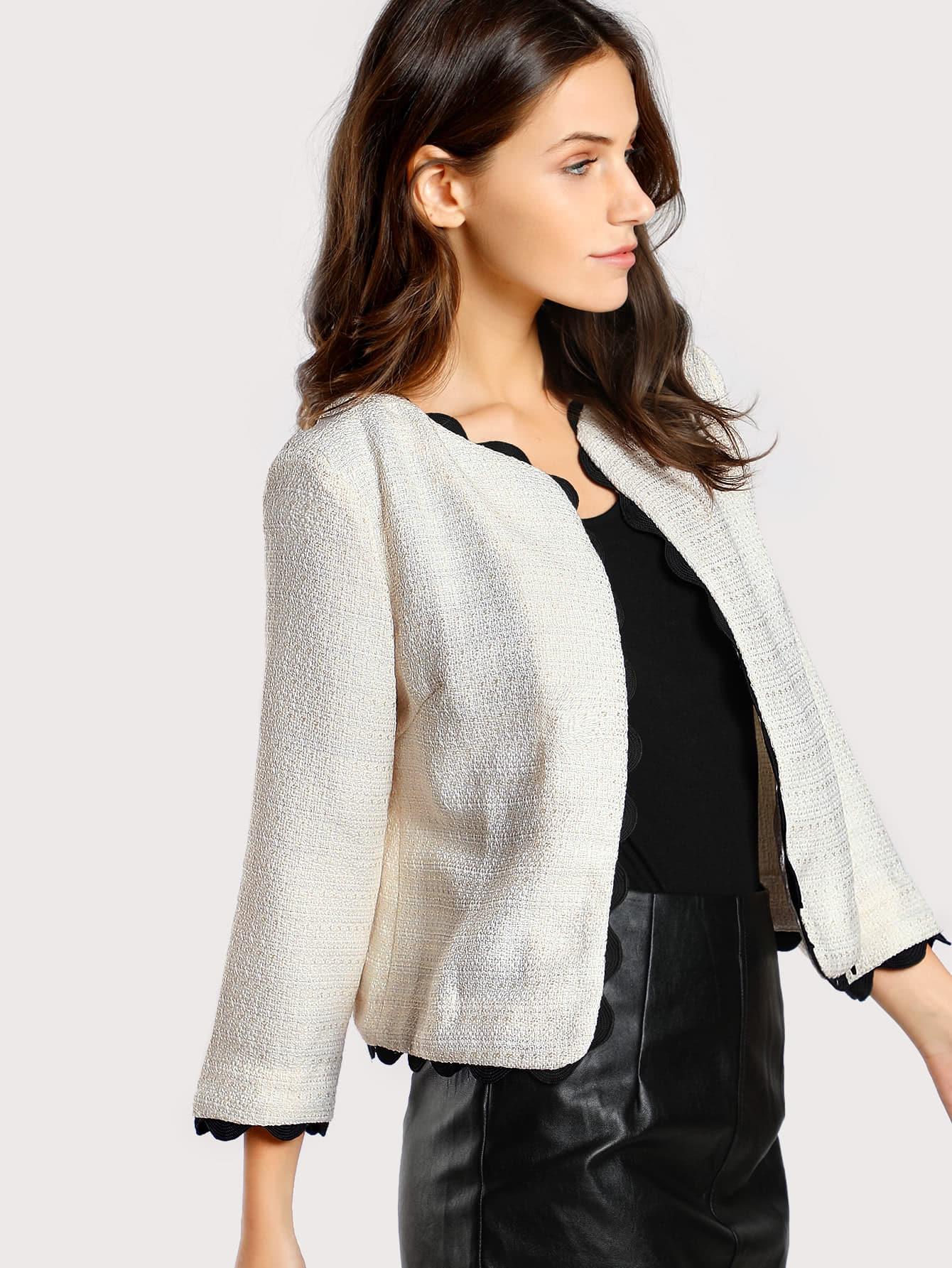 Contrast Scallop Crochet Trim Tweed Blazer contrast scallop trim balloon sleeve shirt