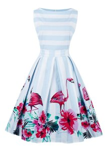 Flamingo Print Striped Box Pleated Dress With Belt